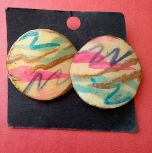 Artist signed 80s colorful circle earrings